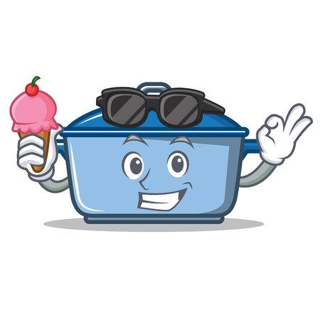 With ice cream kitchen pan  character cartoon style Illustration
