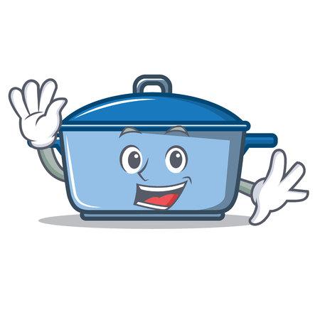 Waving kitchen pan character cartoon style