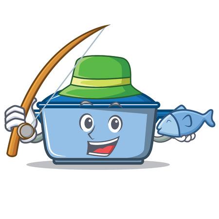 Fishing kitchen pan character cartoon style Illustration