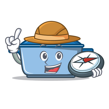 Explorer kitchen pan character cartoon style Illustration