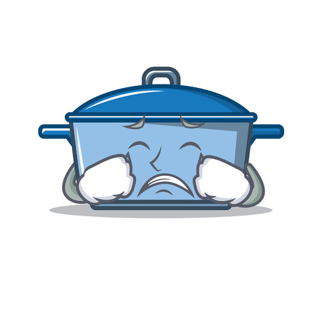 Crying kitchen pan character cartoon style