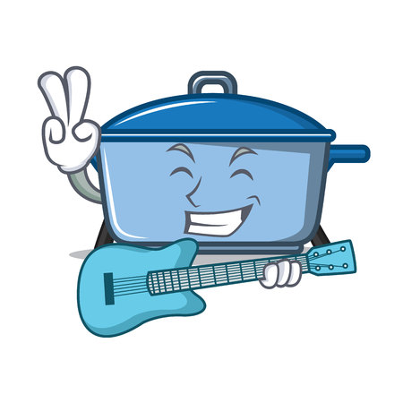With guitar kitchen pan character cartoon style Illustration