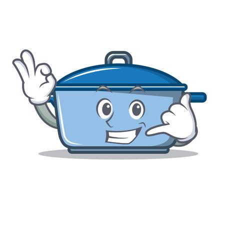 Call me kitchen character cartoon style vector illustration