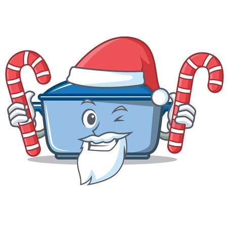 Santa with candy kitchen character cartoon style vector illustration