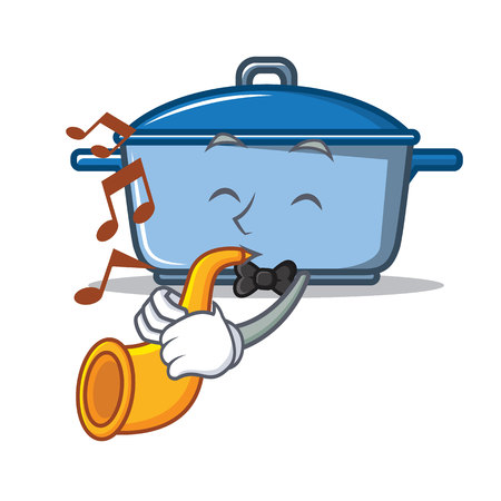 With trumpet kitchen character cartoon style Illustration