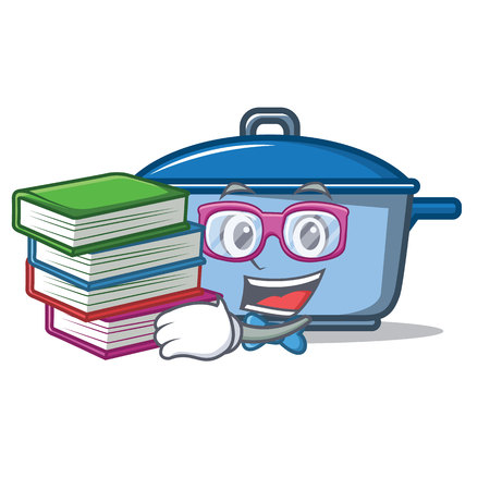 Student with book kitchen character cartoon style