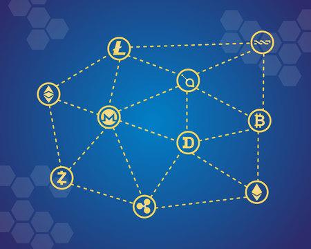 Blockchain word のアイコン ベクトル イラスト集  イラスト・ベクター素材