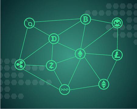 緑の背景のベクトル図と Blockchain ワード