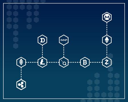 ブロック チェーン デザイン スタイル コレクション ベクトル図