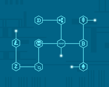 On blue background block chain style vector illustration