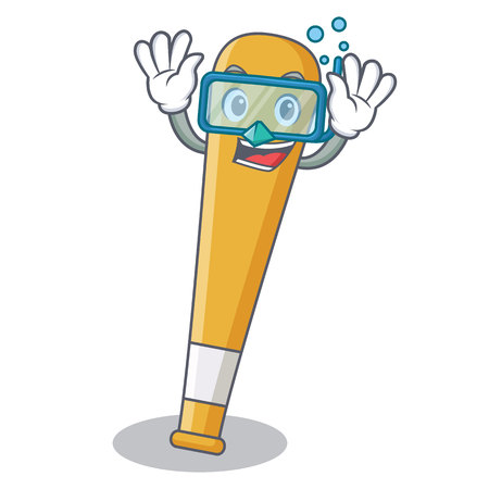 Diving baseball bat character cartoon