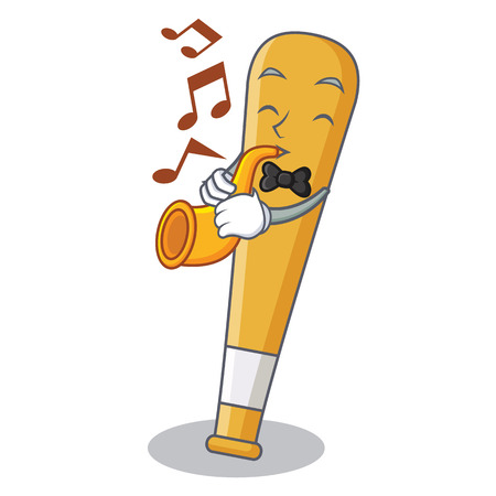 With trumpet baseball bat character cartoon