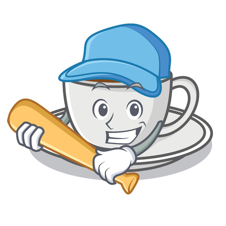 Playing baseball coffee character cartoon style vector illustration Illustration
