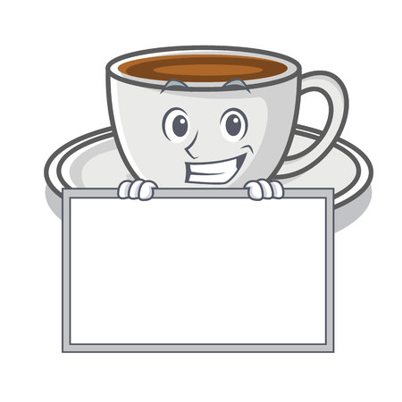 Grinning with board coffee character cartoon style vector illustration