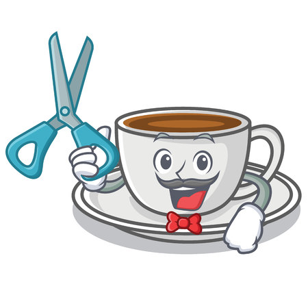 Barber coffee character cartoon style vector illustration Illustration