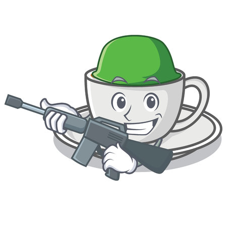Army coffee character cartoon style vector illustration
