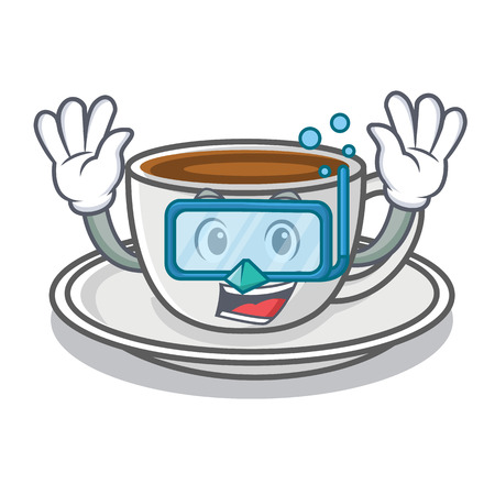 Diving coffee character cartoon style vector illustration Çizim