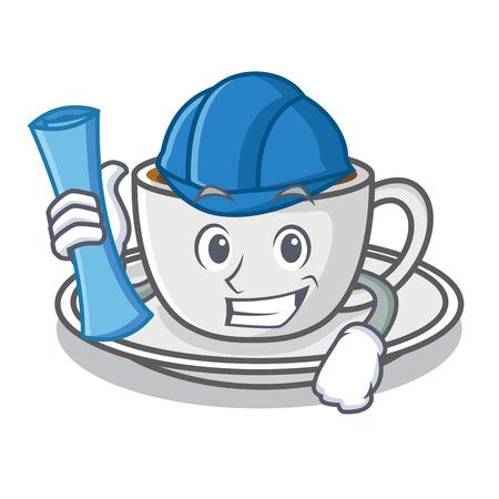 Architect coffee character cartoon style vector illustration Illustration
