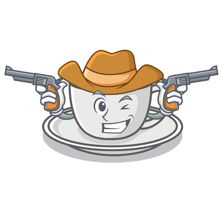 Cowboy coffee character cartoon style vector illustration