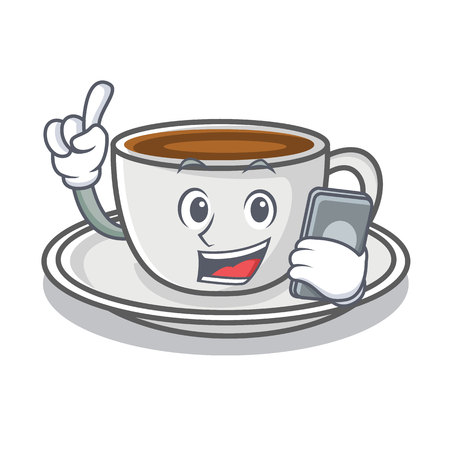 With phone coffee character cartoon style vector illustration
