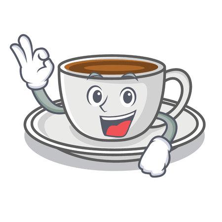 Okay coffee character cartoon style Illustration