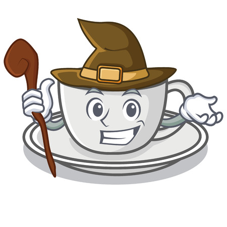 Witch coffee character cartoon style
