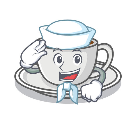 Sailor coffee character cartoon style Illustration