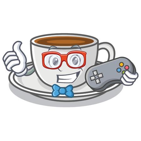 Gamer coffee character cartoon style