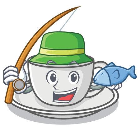 Fishing coffee character cartoon style Illustration