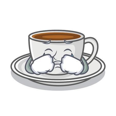 Style de dessin animé de personnage café pleurer Vecteurs