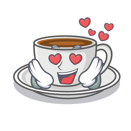 In love coffee character cartoon style Illustration