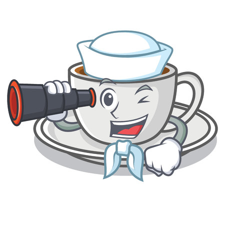 Sailor with binocular coffee character cartoon style