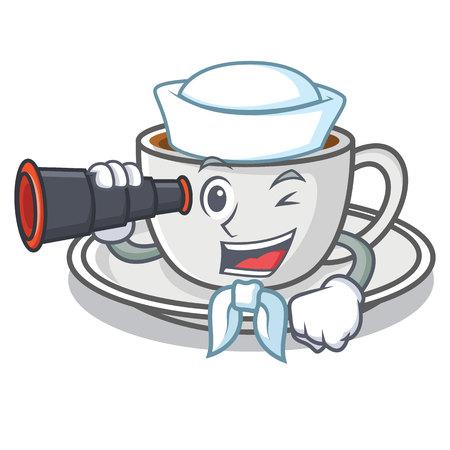 Sailor with binocular coffee character cartoon style