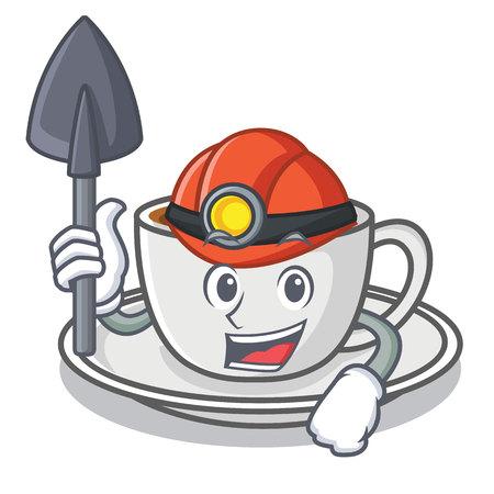 Miner coffee character cartoon style