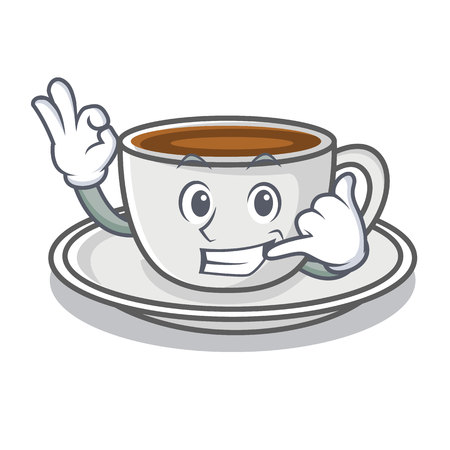 Call me coffee character cartoon style Illustration