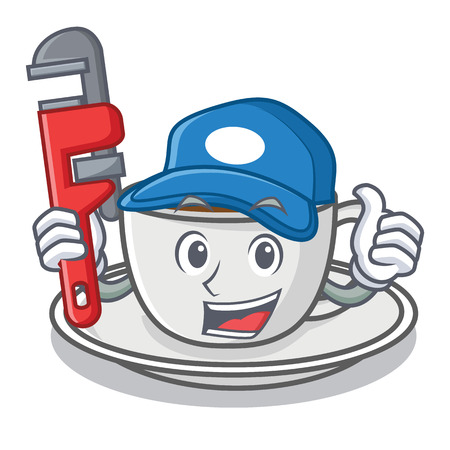 Plumber coffee character cartoon style