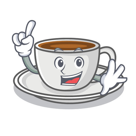 Finger coffee character cartoon style