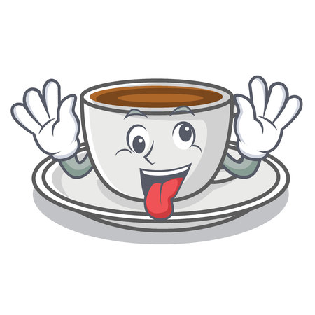 Crazy coffee character cartoon style