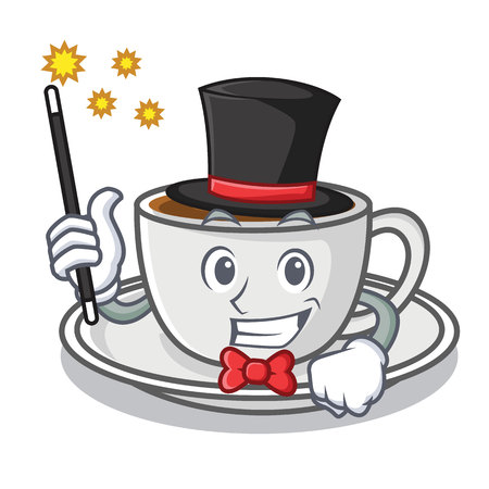 Magician coffee character cartoon style
