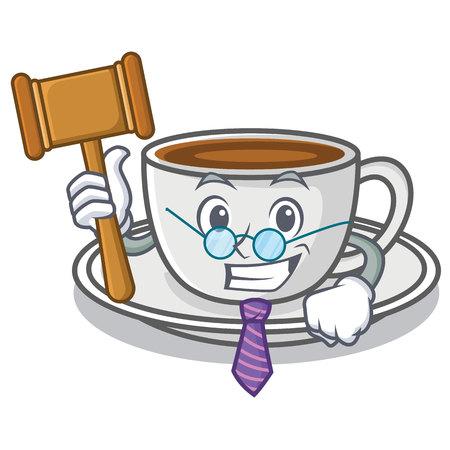 Judge coffee character cartoon style Illustration