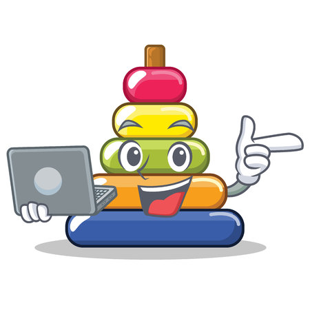 With laptop pyramid ring character cartoon Illustration