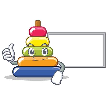 Thumbs up with board pyramid ring character cartoon