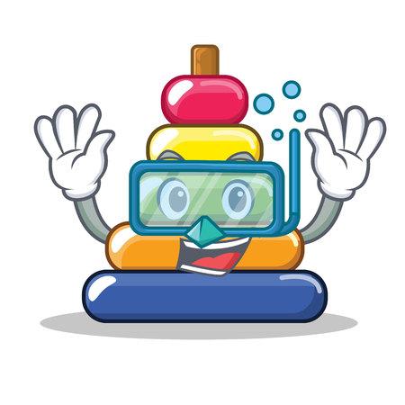 Diving pyramid ring character cartoon vector illustration Illustration