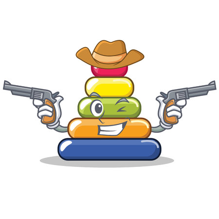 Cowboy pyramid ring character cartoon vector illustration Illustration