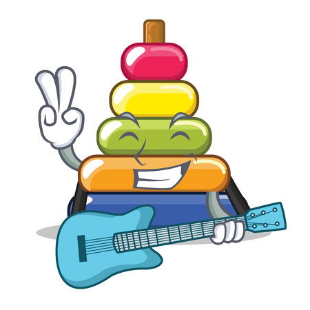 With guitar pyramid ring character cartoon vector illustration