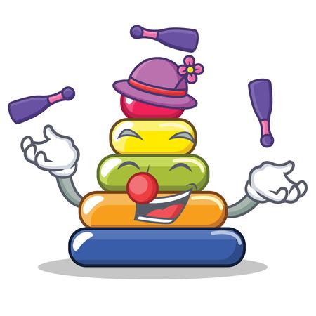 Juggling pyramid ring character cartoon vector illustration