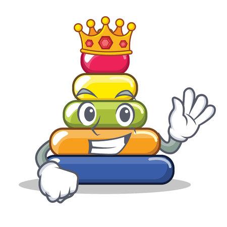 King pyramid ring character cartoon vector illustration