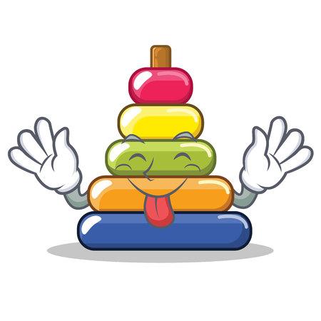 Tongue out pyramid ring character cartoon vector illustration Illustration