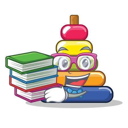 Student with book pyramid ring character cartoon