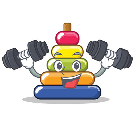 Fitness pyramid ring character cartoon vector illustration